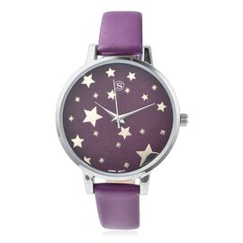 STRADA Japanese Movement Water Resistant Star Pattern Watch with Purple Strap