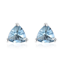 Super Auction-9K White Gold Santa Maria Aquamarine (Trl) Stud Earrings (with Push Back) 0.750 Ct.