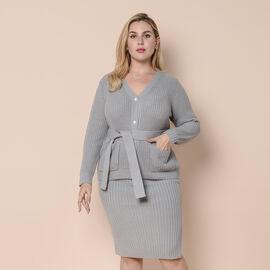LA MAREY 100% Acrylic Knit Cardigan with Waistband - Ash Grey