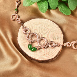Rachel Galley Venom (Snakes) Collection - Green Jade Necklace (Size 20 with 4 inch Extender) in Rose Gold Overlay Sterling Silver 5.51 Ct, Silver wt 31.00 Gms