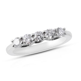 RHAPSODY 0.50 Ct Diamond 5 Stone Ring in 950 Platinum 4 Grams IGI Certified VS EF