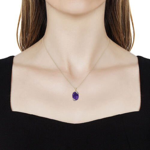Amethyst (Ovl 7.87 Ct), Natural White Cambodian Zircon Pendant with Chain (Size 18) in Rhodium and Yellow Gold Overlay Sterling Silver 8.320 Ct.