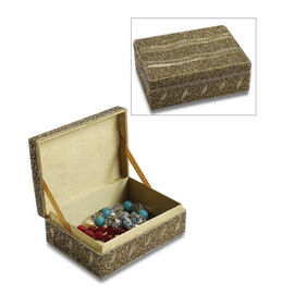 Handcrafted Decorative Beads Bling Storage Box with Inside Lining (Size 18.5x13x5.7 Cm) - Golden