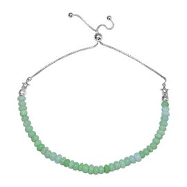 One Time Deal- Mint Green Opal (Rnd) Beads Bolo Bracelet (Size 6.5-10 Adjustable) in Sterling Silver