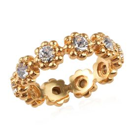 J Francis White Crystal from Swarovski Floral Band Ring in 18K Yellow Gold Plated