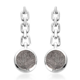 Meteorite Dangle Earrings (with Push Back) in Platinum Overlay Sterling Silver 7.08 Ct.