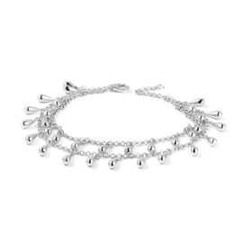 LucyQ Rhodium Overlay Sterling Silver Two Layer Drip Bracelet (Size 8), Silver wt 18.70 Gms.