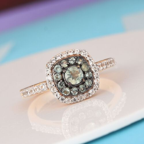 Alexandrite, Natural Cambodian Zircon Halo Ring in 14K Gold and Black Overlay Sterling Silver 1.000  Ct.