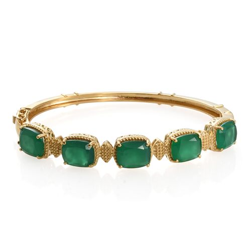 Verde Onyx (Cush 11x9MM) Bangle (Size 7.5) in 14K Gold Overlay Sterling Silver 18.250 Ct. Silver wt