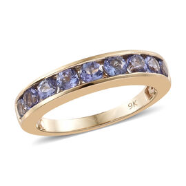 9K Yellow Gold AA Tanzanite (Rnd) Half Band Ring 1.150 Ct.