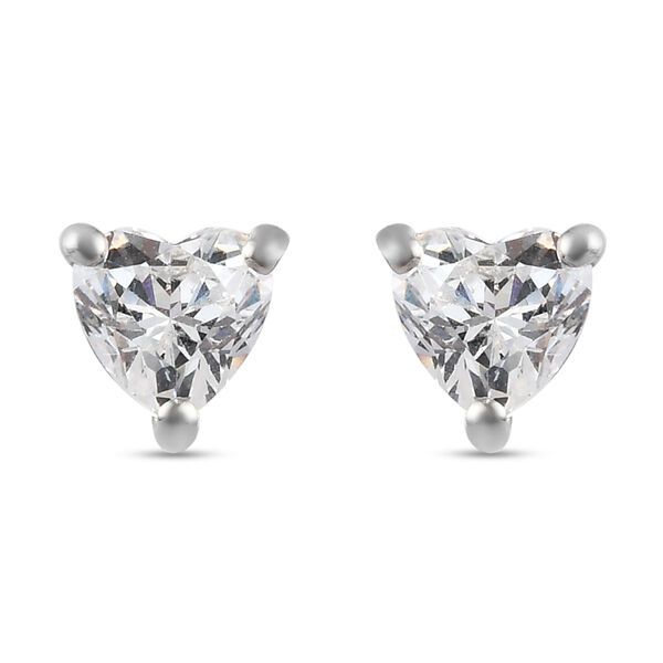 Swarovski Zirconia  Solitaire Stud Push Post Earring in Platinum Overlay Sterling Silver 1.62 ct  1.
