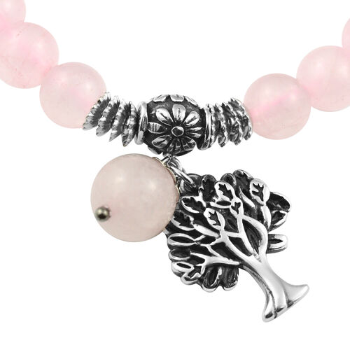 Rose Quartz Tree of Life Lucky Charm Beads Stretchable Bracelet (Size 7-7.5) in Stainless Steel 88.00 Ct.