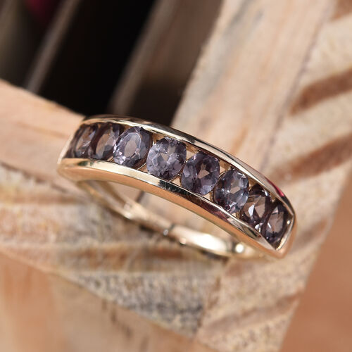 9K Yellow Gold Colour Change Garnet (Ovl) Half Eternity Band Ring  2.00 Ct.