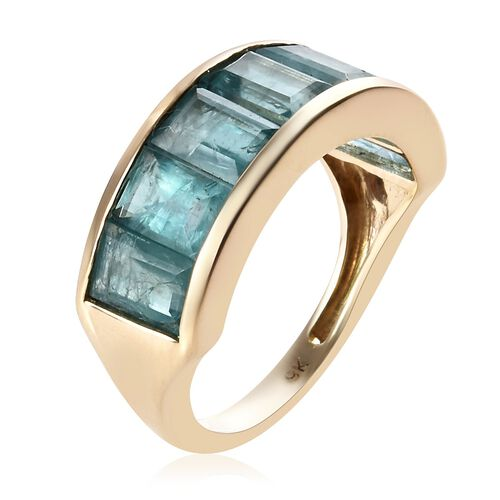 One Time Deal-9K Yellow Gold Neon Blue Natural Grandidierite (Bgt) Half Eternity Ring 3.50 Ct.