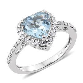 Collectors Edition-14K White Gold AA Santa Maria Aquamarine (Hrt 2.20 Ct), Diamond Ring 2.500 Ct.