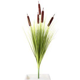 Home Decor - Artificial Bulrush Grass (Size 100 Cm) - Green and Brown