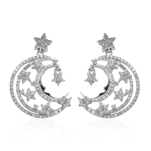 GP Diamond and Blue Sapphire Dangling Crescent Moon and Star Earrings (with Push Back) in Platinum O