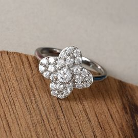 J Francis Platinum Overlay Sterling Silver Ring Made with SWAROVSKI ZIRCONIA 1.35 Ct.