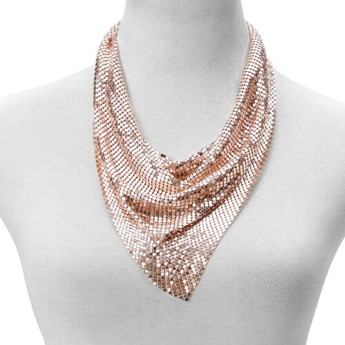 Glittering Rose Gold Collar Necklace (Size 20 with 2 inch Extender) and Hook Earrings in Rose Gold Tone