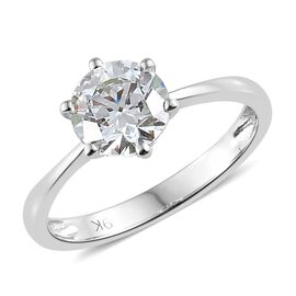 J Francis - 9K W Gold (Rnd 7mm) Solitaire Ring (Size T) Made with SWAROVSKI ZIRCONIA