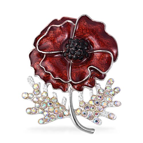 TJC Poppy Design Black Austrian Crystal (Rnd), Simulated Mystic White Crystal Poppy Flower Enamelled