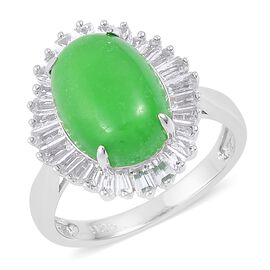 7.83 Ct Green Jade and White Topaz Halo Ring in Rhodium Plated Sterling Silver
