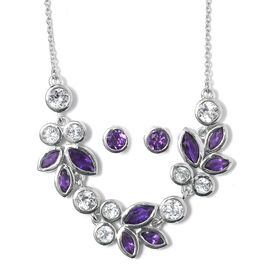 Amethyst (Mrq), White Topaz Leaf Necklace with Chain (Size 18) and Stud Earrings (with Push Back) in