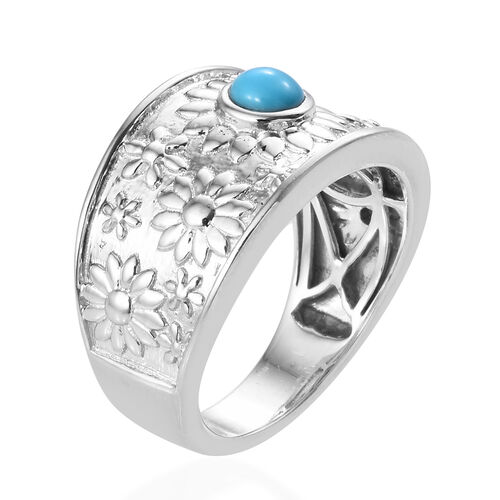 Arizona Sleeping Beauty Turquoise (Rnd) Floral Band Ring in Platinum Overlay Sterling Silver, Silver wt 6.98 Gms