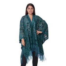Flower and Leaf Pattern Kimono with Tassels (Free Size, L-84 Cm) - Dark Green