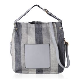 Scarlett Water Resistant Autumn Black and Grey Stripe Tote Bag with Removable Shoulder Strap (Size 3