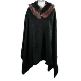 Dusty Pink Faux Fur Collar Poncho with Asymmetrical Hem in Black (One Size)