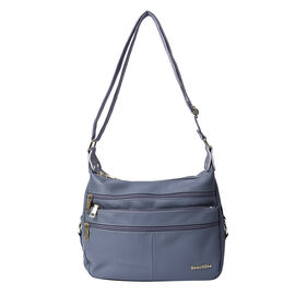 SENCILLEZ Multi Pocket 100% Genuine Leather Crossbody Bag - Blue