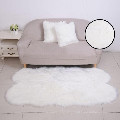 3 Piece Set - Long Pile Faux Fur Rug (100x180cm) with 2 Sofa Cushion Covers (43x43cm-2Pcs) - White