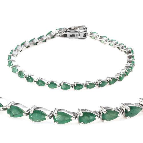 6 Carat Zambian Emerald Tennis Bracelet in Platinum Plated Sterling Silver 8.04 Grams