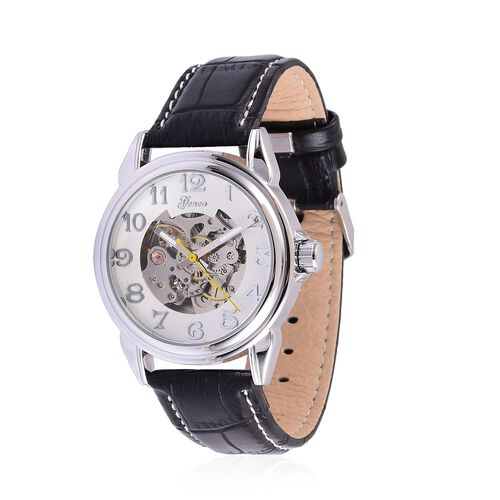 GENOA Automatic Skeleton White Dial Water Resistant Watch in Silver Tone With Stainless Steel Back and Black Colour Strap
