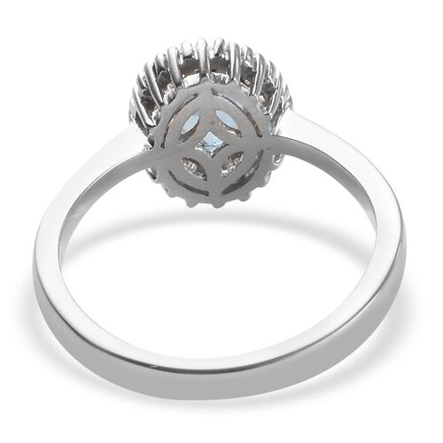 ILIANA 18K White Gold AAA Santa Maria Aquamarine (Ovl 7x5mm), Diamond (SI/G-H) Ring 1.00Ct.