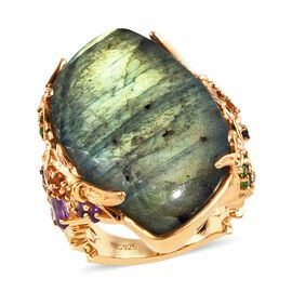 GP 30.60 Ct Labradorite and Multi Gemstone Cocktail Ring in Gold Plated Silver 9.20 Grams