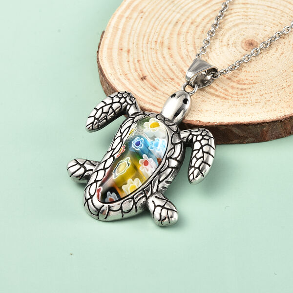 Murano Style Glass Turtle Pendant With Chain (Size 20) in Stainless Steel