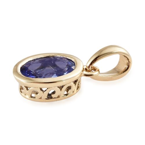 9K Yellow Gold 0.75 Ct AA Tanzanite Solitaire Pendant
