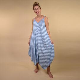 TAMSY Viscose Asymmetrical Hem Herringbone Stripe Dress One Size, (Fits Size 8-18 ) - Denim Blue