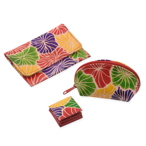 3 Piece Set - 100% Genuine Leather Multi Colour Hand Painted Card Holder (12x8 Cm), Coin Pouch (10x4