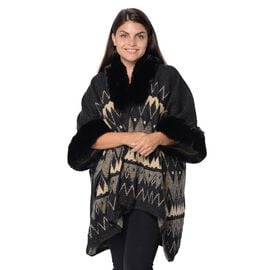Rhombus Pattern Blanket Wrap with Faux Fur Collar and Sleeves (Size 79x107 Cm) - Black and Khaki Bla
