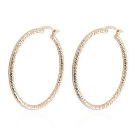 Designer Inspired - 9K Yellow Gold Diamond Cut Earrings.Gold Wt 2.20 Gms
