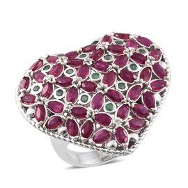 Designer Inspired -African Ruby (Mrq), Kagem Zambian Emerald Heart Ring in Platinum Overlay Sterling