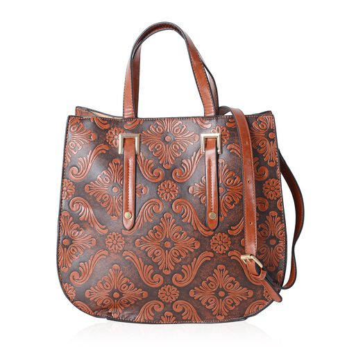 Limited Collection Italian Tan Tote Bag Damask Embossed with Removable Shoulder Strap (Size 33x31x14