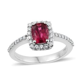 RHAPSODY 1.50 Carat AAAA Ouro Fino Rubelite and Diamond Halo Ring in 950 Platinum 6 gms