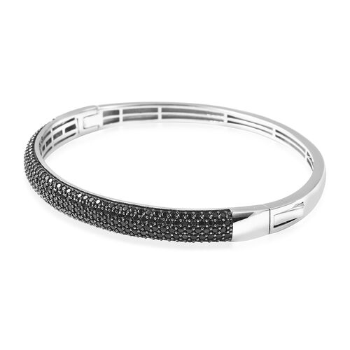 Natural Boi Ploi Black Spinel (Rnd)  Bangle (Size 7.5) in Rhodium and Black Overlay Sterling Silver. Silver wt 18.20 Gms, Number of Gemstone 239