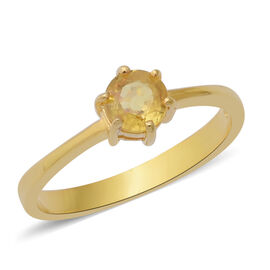 JCK Vegas Collection- Chanthaburi Yellow Sapphire (Rnd) Solitaire Ring in Yellow Gold Overlay Sterli