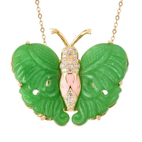 27.15 Ct Carved Green Jade and Zircon Butterfly Pendant with Chain Or Brooch in Gold Plated Silver