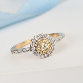 14K Yellow Gold White and Natural Yellow Diamond Cluster Ring 0.33 Ct.